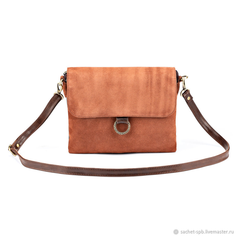 Women's bag made of leather and suede 'Michel '(brown), Classic Bag, St. Petersburg,  Фото №1