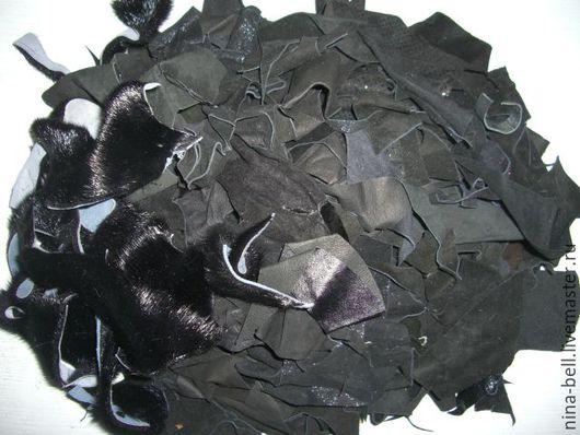 Аппликации, вставки, отделка ручной работы. Ярмарка Мастеров - ручная работа. Купить набор натуральной черной замши и черного меха серки   для творчества. Handmade.