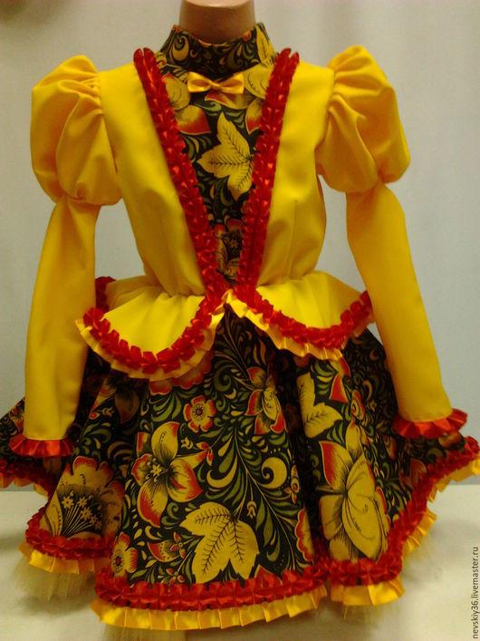 Детские карнавальные костюмы ручной работы. Ярмарка Мастеров - ручная работа. Купить Боярочка. Handmade. Желтый, хохлома, красивое платье