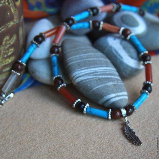 Чокер Перо орла, этно украшение на шею, этника индейское украшение, этно украшение под шею, этно украшение чокер, чокер в стиле этно, чокер в стиле бохо, этника украшения, бохо украшение на шею этно