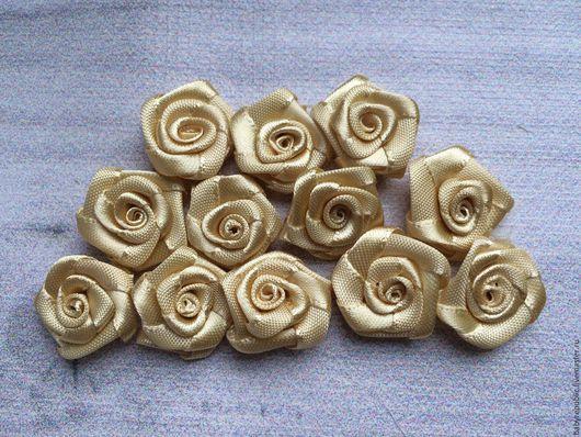 Для украшений ручной работы. Ярмарка Мастеров - ручная работа. Купить Декоративные розы. Handmade. Золотой, роза из ткани, акссесуары