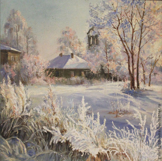 Пейзаж ручной работы. Ярмарка Мастеров - ручная работа. Купить Зима. Handmade. Голубой, Снег, дерево, родина, кремовый, масло