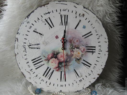 Часы для дома ручной работы. Ярмарка Мастеров - ручная работа. Купить Часы Розы шебби. Handmade. Шебби-шик, мятный