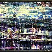 Картины и панно handmade. Livemaster - original item A big bright picture of the city panorama view from the top Saint Petersburg. Handmade.