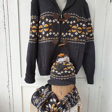 Одежда ручной работы. Ярмарка Мастеров - ручная работа Вязаный кардиган, кепка, шарф. Handmade.