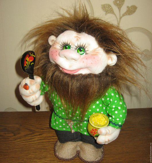 Человечки ручной работы. Ярмарка Мастеров - ручная работа. Купить Домовёнок. Handmade. Зеленый, кукла ручной работы, домовой