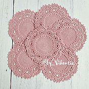 Для дома и интерьера ручной работы. Ярмарка Мастеров - ручная работа Набор салфеток 6 шт. крючком  розовые. Handmade.