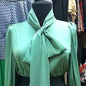 Одежда ручной работы. Ярмарка Мастеров - ручная работа Шелковая блуза с бантом+юбка в подарок. Handmade.