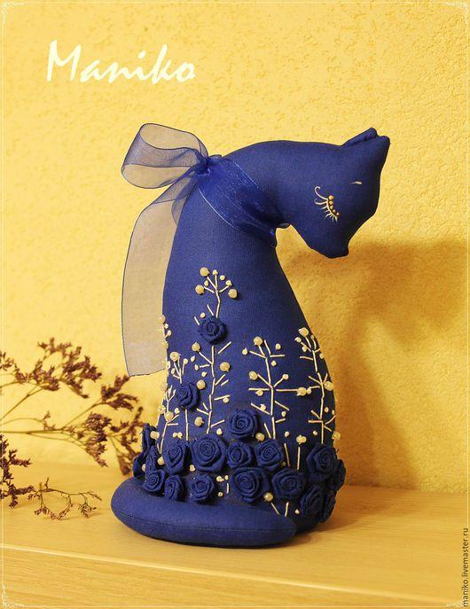 """Игрушки животные, ручной работы. Ярмарка Мастеров - ручная работа. Купить Кошка """"Ночка"""". Handmade. Тёмно-синий, интерьерная игрушка"""
