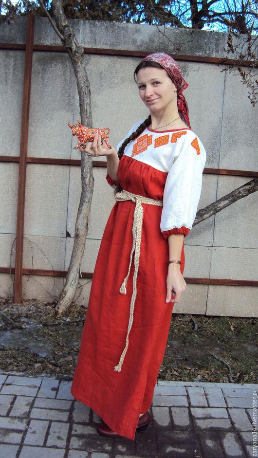 Платья ручной работы. Ярмарка Мастеров - ручная работа. Купить Платье с орнаментом гладью. Handmade. Рыжий, обережное платье