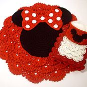 Для дома и интерьера handmade. Livemaster - original item Gift baby kit knitted Minnie mouse pad basket pillow. Handmade.