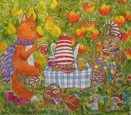 Животные ручной работы. Ярмарка Мастеров - ручная работа. Купить Уютное чаепитие в саду. Handmade. Комбинированный, картина для интерьера
