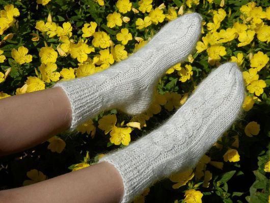 Носки, Чулки ручной работы. Ярмарка Мастеров - ручная работа. Купить Носочки белые с узором Коса. Handmade. Белый, носки