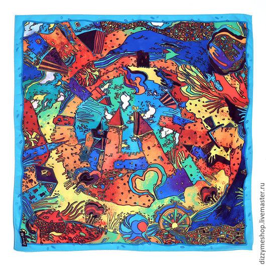 """Шали, палантины ручной работы. Ярмарка Мастеров - ручная работа. Купить Платок шейный """"Воздушный Замок"""". Handmade. Оранжевый, платок"""