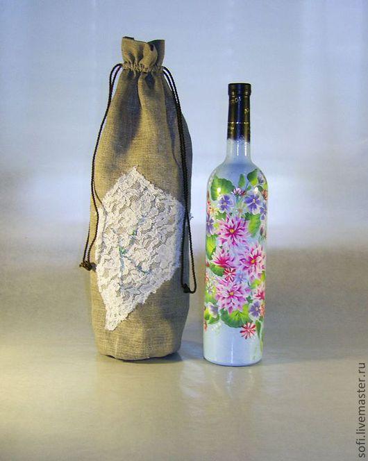 Подарочное оформление бутылок ручной работы. Ярмарка Мастеров - ручная работа. Купить Бутылка подарочная. Handmade. Подарочная бутылка, лён