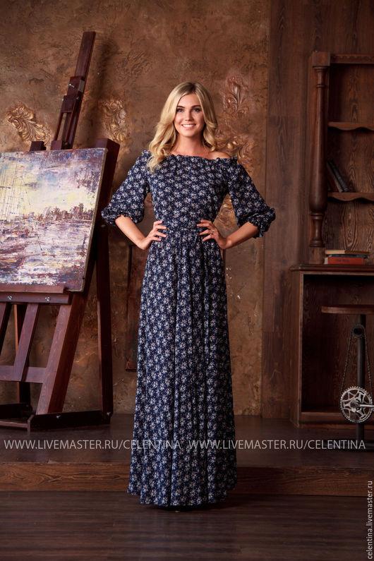 Летнее платье, темно синее платье на лето, длинное платье, цветочное платье в отпуск, пляжное платье, платье нарядное, красивое длинное платье, летнее цветочное платье с открытыми плечами, сарафан