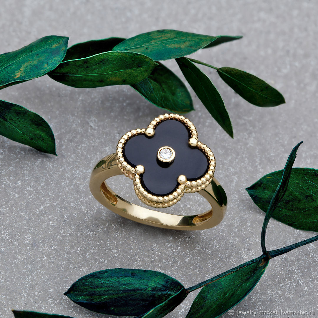 Elegant ring in the shape of clover with diamond in yellow gold 585, Rings, Ekaterinburg,  Фото №1