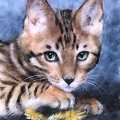 Бенгальская кошка - картина шерстью