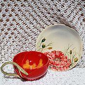 Посуда ручной работы. Ярмарка Мастеров - ручная работа Чайная пара Маки керамика. Handmade.