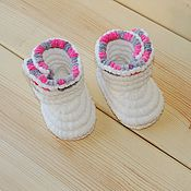 Работы для детей, handmade. Livemaster - original item Knitted shoes Booties boots plush, baby shoes, color white. Handmade.