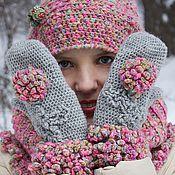 Аксессуары handmade. Livemaster - original item Melange knitted Snood warm hat mittens(pink olive). Handmade.