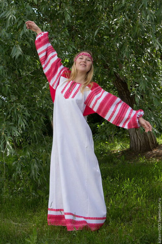 """Одежда ручной работы. Ярмарка Мастеров - ручная работа. Купить Платье """"Этно"""" бело-красное,вариант 2. Handmade. Белый"""