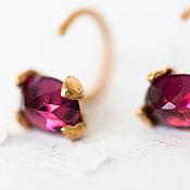 Украшения handmade. Livemaster - original item Gold earrings with Garnet– Gold vermeil  studs – Minimal earrings. Handmade.