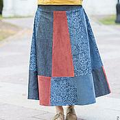 Одежда ручной работы. Ярмарка Мастеров - ручная работа Юбка из джинсовой ткани и вельвета. Handmade.