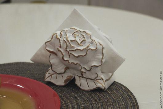 Кухня ручной работы. Ярмарка Мастеров - ручная работа. Купить Золотая роза. Салфетница.. Handmade. Белый, серебрение, золотая