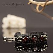 Сувениры и подарки handmade. Livemaster - original item garnet leather men`s bracelet raw garnet. Handmade.
