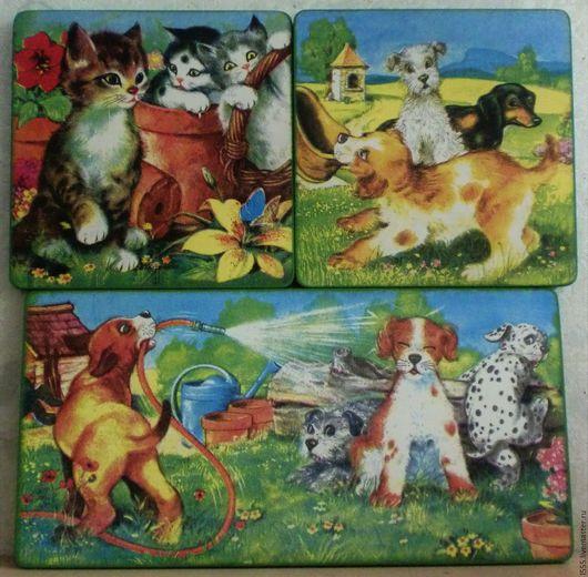 """Кухня ручной работы. Ярмарка Мастеров - ручная работа. Купить """"Весёлые и озорные котята и щенки"""" Разделочная доска панно. Handmade."""
