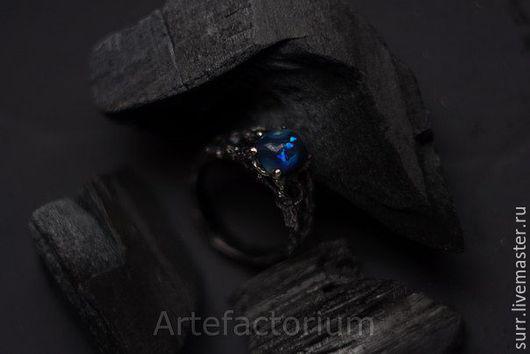 Кольца ручной работы. Ярмарка Мастеров - ручная работа. Купить Серебряное кольцо с опалом № 235. Handmade. Тёмно-синий