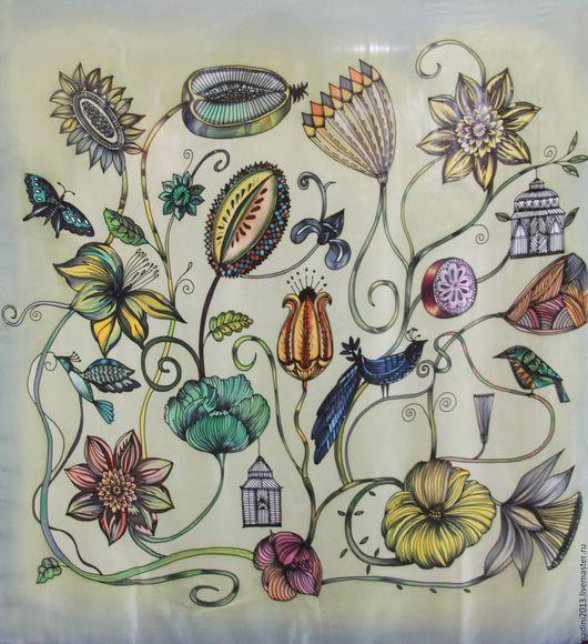 Шёлковый Платок батик На заказ может быть выполнен в разных размерах, на разных видах натурального шёлка(имеющимся в наличии). Цена батик платка зависит от выбранного размера.