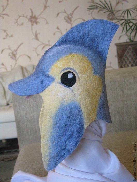 """Банные принадлежности ручной работы. Ярмарка Мастеров - ручная работа. Купить Шапка для сауны """"Дельфин"""". Handmade. Голубой, шапка для бани"""