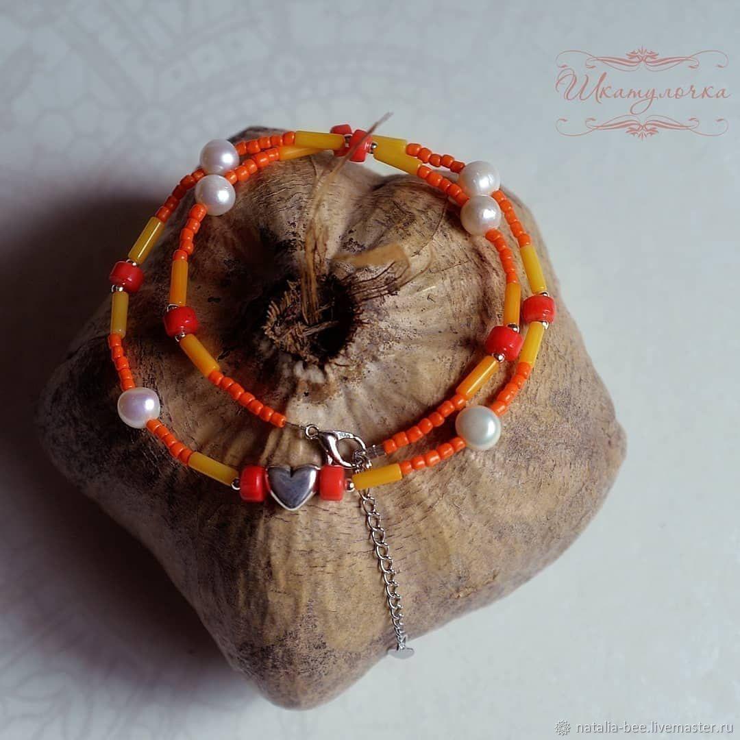 Кораллово-жемчужный чокер, Колье, Таганрог,  Фото №1