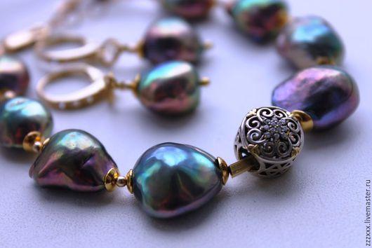 Комплекты украшений ручной работы. Ярмарка Мастеров - ручная работа. Купить Комплект браслет и серьги Luxury Baroque pearls. Handmade.