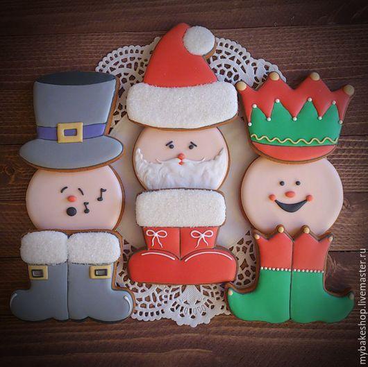"""Кулинарные сувениры ручной работы. Ярмарка Мастеров - ручная работа. Купить """"Christmas characters"""" набор пряников-козуль. Handmade."""