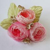 Украшения ручной работы. Ярмарка Мастеров - ручная работа Заколка, брошь из роз Лючия. Цветы из шелка. Handmade.