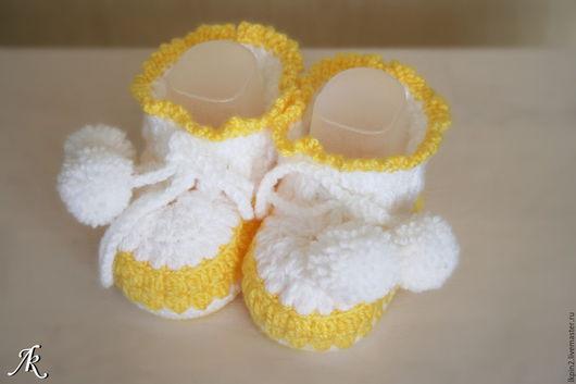 """Для новорожденных, ручной работы. Ярмарка Мастеров - ручная работа. Купить Пинетки """"Воздушная нежность"""". Handmade. Желтый, пинетки"""