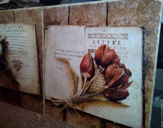 Картины цветов ручной работы. Ярмарка Мастеров - ручная работа. Купить Панно 60х60 деревянное большое_КРАСНЫЙ БУКЕТ НА КНИГЕ W0207. Handmade.