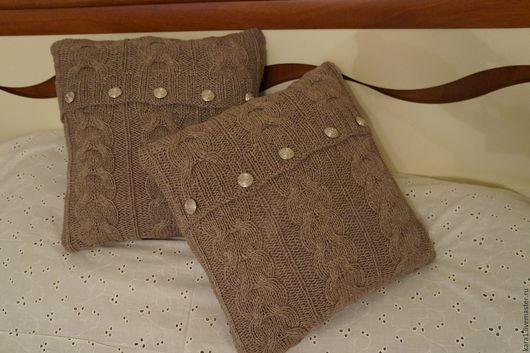 Текстиль, ковры ручной работы. Ярмарка Мастеров - ручная работа. Купить 2 подушки мокко вязанные. Handmade. Бежевый, подарок