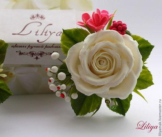 """Заколки ручной работы. Ярмарка Мастеров - ручная работа. Купить Зажим с розой """"Настроение"""". Handmade. Роза ручной работы"""