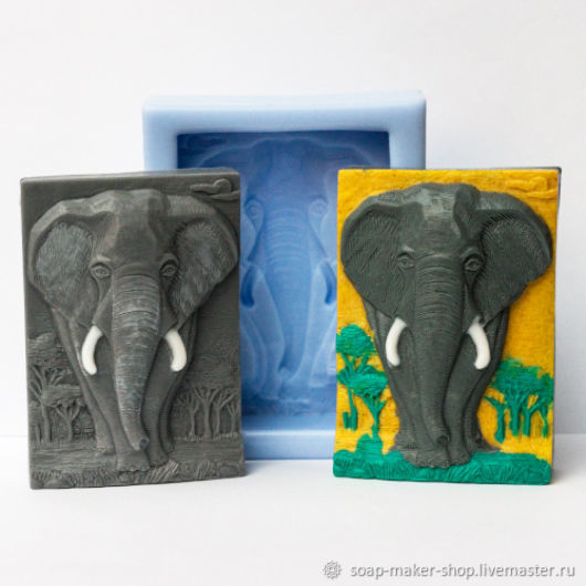 Silicone mold for soap 'Elephant', Form, Shahty,  Фото №1