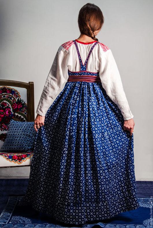Платья ручной работы. Ярмарка Мастеров - ручная работа. Купить Сарафан кубовый. Handmade. Тёмно-синий, сарафан длинный