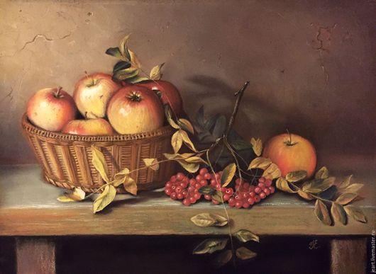 Натюрморт с яблоками. Пастель