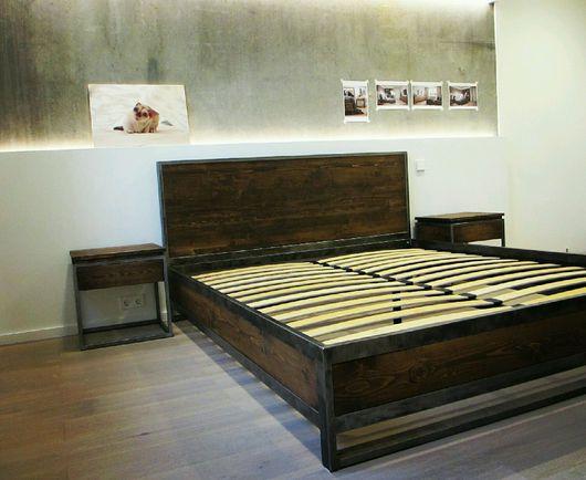Мебель ручной работы. Ярмарка Мастеров - ручная работа. Купить Кровать в стиле лофт mod.4. Handmade. кровать на заказ
