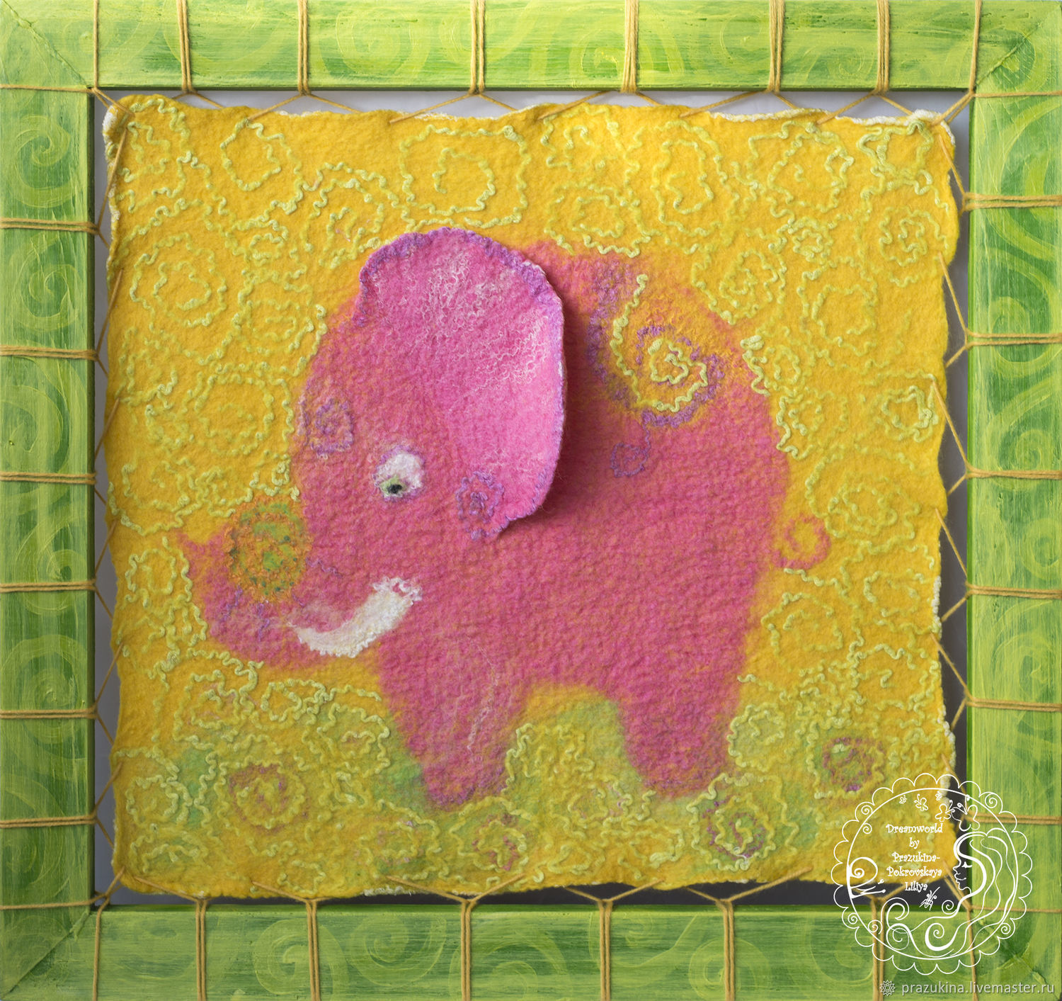 Felted mural 'Pink elephants' 41h43, Pictures, Sevastopol,  Фото №1