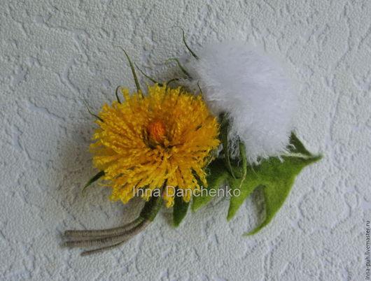 Одуванчик, одуванчики цветы, валяная брошь одуванчики, Данченко Инна, Брошки и Игрушки