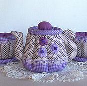 Посуда handmade. Livemaster - original item Textile tea set. Teapot, cups and saucer. lilac. Handmade.