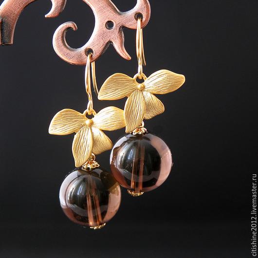 """Серьги ручной работы. Ярмарка Мастеров - ручная работа. Купить Серьги """" Орхидеи. Раухтопаз"""". Handmade. Длинные серьги, серебряный"""